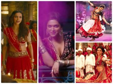 She wore many red lehengas in various songs. And my god, when she twirled!
