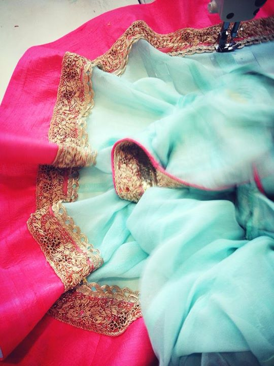 pink blue lehenga