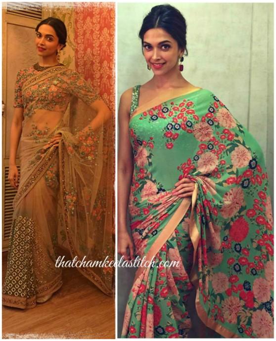 Deepika Padukone Floral Saree Sabyasachi